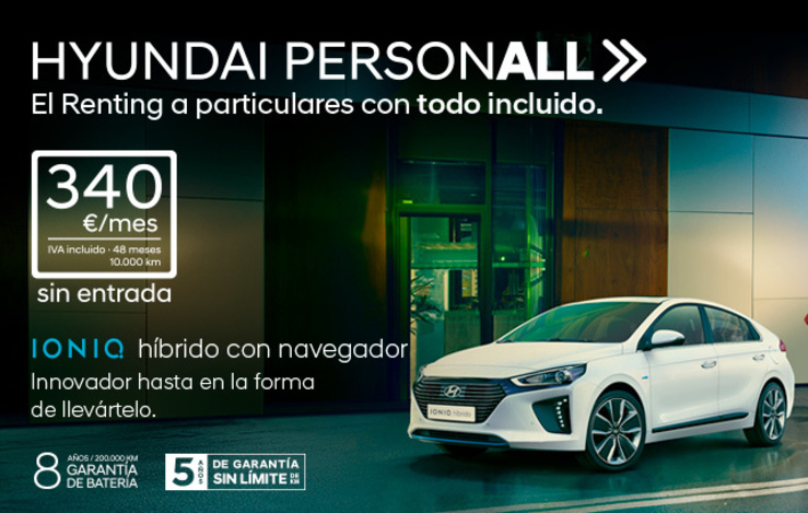 Nuevo programa Renting para particulares Hyundai PersonALL con Hyundai Ioniq